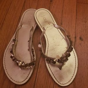 J. Crew Leather Embellished Strap Thong Sandals
